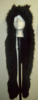 BLACK PLUSH ANIMAL HOOD WOLF HAT WITH SCARF AND MITTENS FAKE FUR
