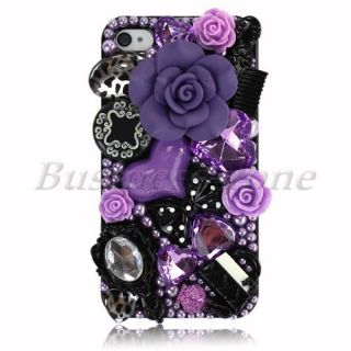 Pretty Purple Flower BLNG Jewelry Crystal Back Skin Case Cover for