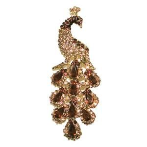 Chic Peacock Bird Pin Brooch Topaz Rhinestone Crystal Drop Peafowl