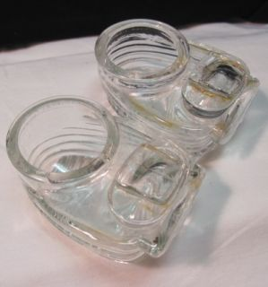 Vintage Bird Cage Water Holders Cup Art Deco Glass Feeder Seed Holder