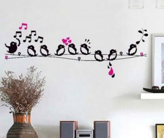 Wall Decal Stickers Happy Singing Birds Music Notes Door Cabinet