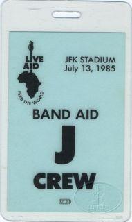 Live Aid 1985 Crew Laminated Backstage Pass Madonna Bob Dylan Eric
