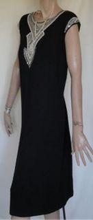 Glam Vintage Black Jeweled Mr Blackwell Cocktail Dress B44