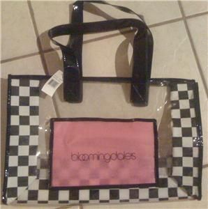 bloomingdale s logo clear pink vinyl xl tote bag nwt