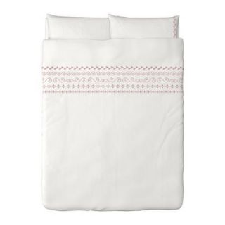 NEW IKEA BIRGIT 3pc DUVET COVER + Pillowcases Queen/ Full white red