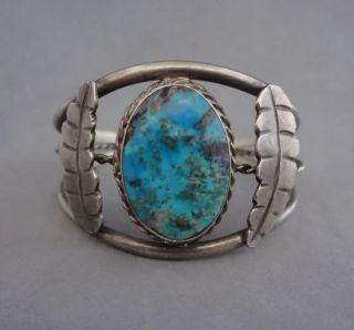 Vintage Navajo Bisbee Turquoise Sterling Silver Cuff Bracelet