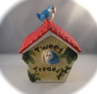 Cute Tweet Treats Blue Bird Birdhouse Ceramic Cookie Jar