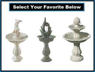 Electric Powered Pump Water Fountain Feature Birdbath Style