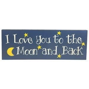 New Wooden The Moon and Back Plaque Sign   Country Primitive Home Wall