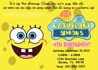 Spongebob Squarepants BIRTHDAY PARTY INVITATIONS INVITES