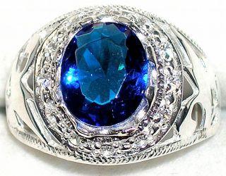 Mens 7 2ctw Sapphire Topaz Sterling Silver Ring September Birthstone