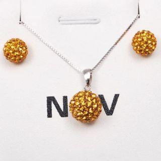 Crystal Ball Earrings Necklace Jewelry Set Nov Birthstone
