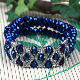 Blue Crystal Rhinestone Faceted Bead Bangle Bracelet