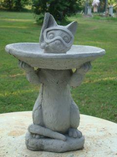NEW LITTLE SNORKEL CAT GARDEN BIRD BATH STATUE NATURAL GRAY CEMENT