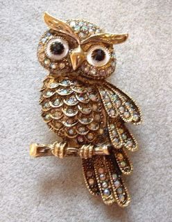 Fashion Aurora Borealis Crystal Wise Owl Bird Pin Brooch Pendant