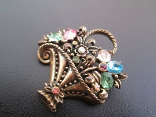 Vintage Brooch Pin Flower Basket Pink Green Yellow Blue Glass
