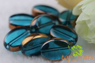 20 Pcs Gold Plated Blue Lake Crystal Glass Oval Beads 13 10mm CR381