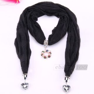 Women Lady Black Silk Crystal Heart Circle Pendant Necklace Shawl