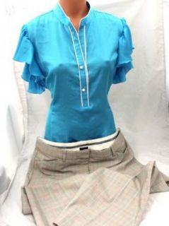 Women Junior Biz Attire Express Editor Plaid Dress Pants Blue Shirt Sz