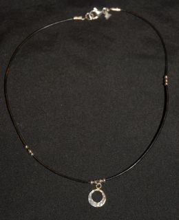 SILPADA Black Leather Necklace Hammered Circle Pendant RET N1687