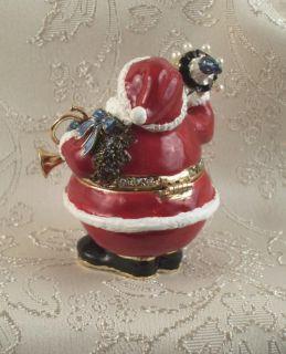 Jeweled Crystal Enamel Santa Claus Trinket Jewelry Box Ceil