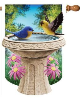 Birdbath bird bathing Summer Daisies Large Flag