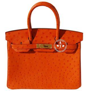 30 Hermes Birkin Handbag Orange Ostrich Gold 9622