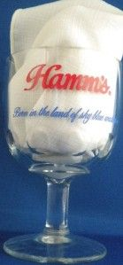 hamms beer land sky blue water glass goblet dimples