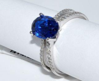 Blue Sapphire Diamond Ring Gemstone Birthston Engagement 2 3ct 14k