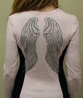 Womens Long Sleeve Black Angel Wings Rhinestone Shirt