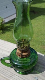 Vtg Green Glass Oil Lamp with Finger Holder Raised Fruit Design Green