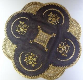 Set of 4 Elegant Gold and Black Round 16 Lace Design Vinyl Dinner
