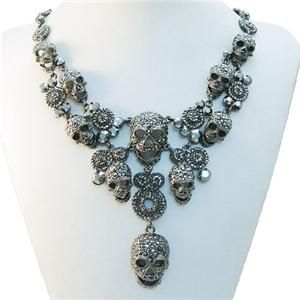 Lots Skull Circle Necklace Pendant Swarovski Crystal Black Cool