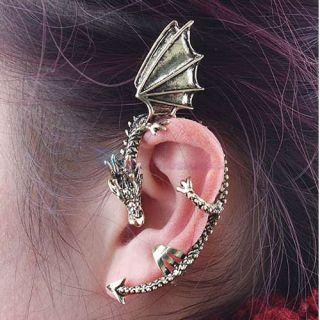 Punk Rock Temptation Metal Fly Dragon Bite Ear Cuff Wrap Clip Earring