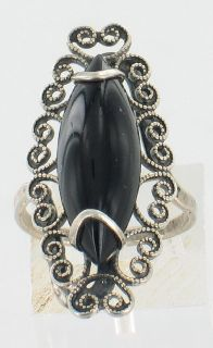 Sterling Silver Marquise Onyx Filigree Ring Lovely Sz 5 5