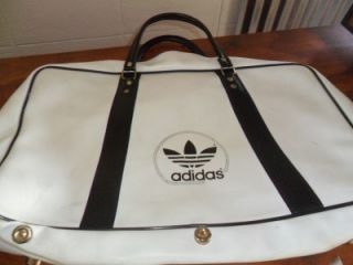 Adidas Black White Tennis Racket Travel Duffle Bag 1970s Large