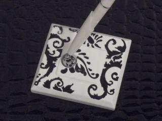 Damask Black White Wedding Pen Base Wedding Accesories Gift Set