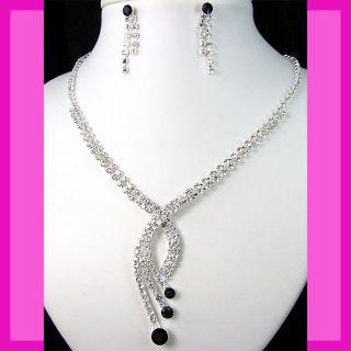 Bridesmaids Black Rhinestone Crystals Necklace Earrings Set Prom