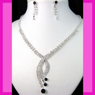 Bridesmaids Black Rhinestone Crystals Necklace Earrings Set Prom