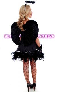G22 Gothic Dark Fallen Angel Fancy Dress Halloween Costume, Halo