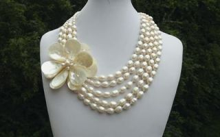Haute Couture 5 Strand Baroque Pearl Necklace Huge Hand Wired MOP
