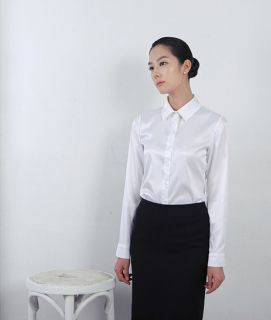 Wamon`s White Long Sleeves Satin Blouse with flat Collar Size XS,S,M
