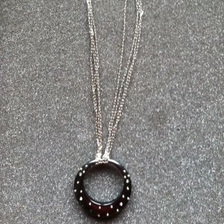 Lia Sophia BLACK CIRCLE PENDANT W CRYSTALS SILVER DOTS NECKLACE