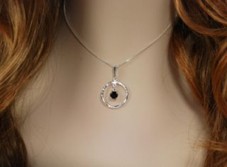 Black Onyx Circle Dangle Pendant Necklace Sterling Silver