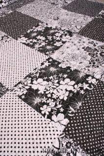 Brenna Patchwork Black White Toile Queen Quilt Set Cotton