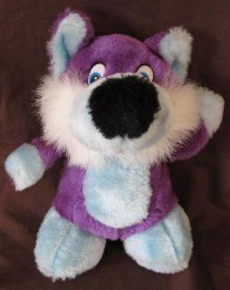 Stuffed Plush Animal Dog Wolf Purple Blue Large Big Black Nose HELP