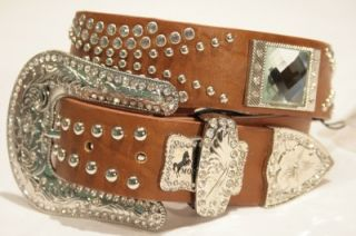 30 Nocona Western Crystal Belt Brown Leather very Trendy & Cool