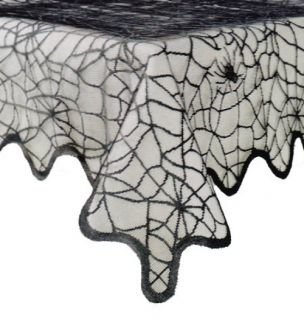 Halloween Black Lace Spider Web Polyester Fabric Tablecloth New Free