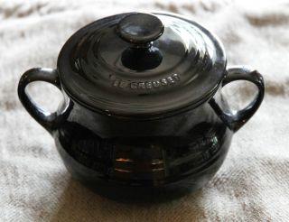 LE CREUSET BLACK SOUP BOWL / PETITE BEAN POT WITH LID 16 oz