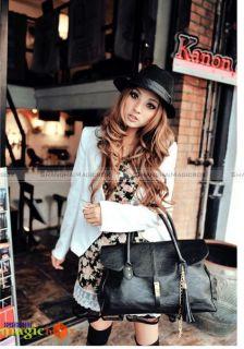 Women Vintage Tassel Tote Shoulder Bag Black New 161